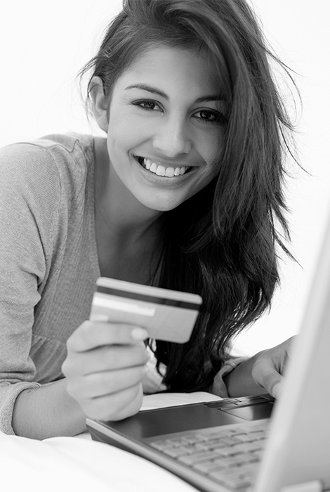 Girl looking at her checking account online